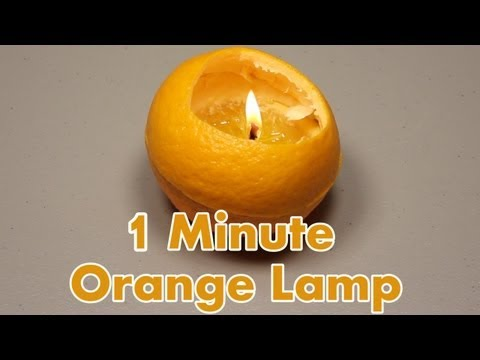 Make an Oil Lamp from an Orange and some Olive Oil.