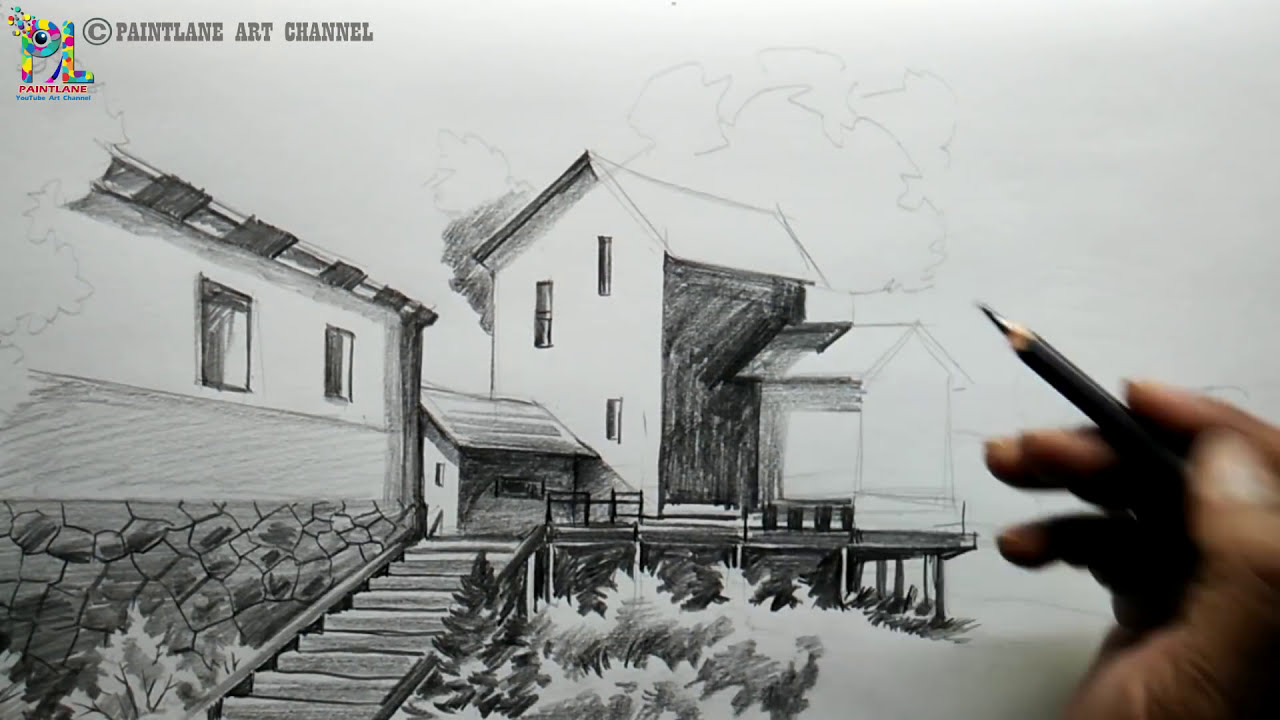 pencil drawing of landscape for beginners by paintlane