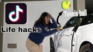 UNLOCK A CAR DOOR WITH A TENNISBALL??? TICTOK *VIRAL* LIFE HACKS TESTED...