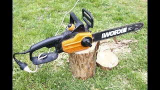 How to put the chain back on a worx electric chainsaw most popular worx 14 wg305 electric chain saw unboxing and cutting review greentooth Images