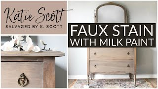 Faux Stain With Milk Paint | Whitewashed Dresser