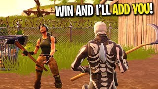 WIN THIS GAME AND I WILL ADD YOU ON FORTNITE! (Random Duos On Fortnite)
