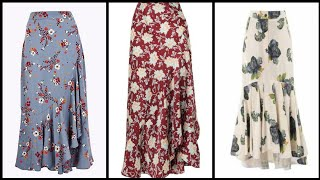 Most Trendy Stylish And Classy Designer Floral Print Long Maxi Skirts Design