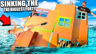 SINKING The BIGGEST 3 Story Floating Box Fort TITANIC!!