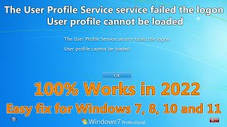 new user profile service failed the logon windows 7 fix