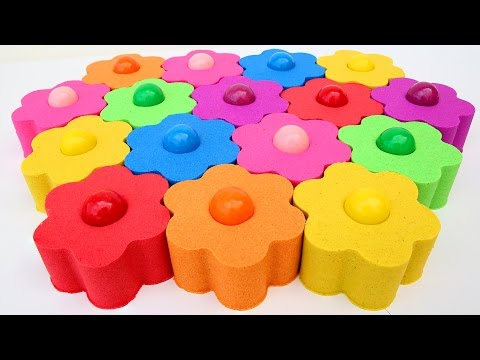 DIY Colors Kinetic Sand Candy Gumballs Flowers Garden Play Doh Lightning McQueen Cars3