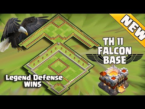 New Th11 Legend Defense Base 2017 Replay | Th11 Falcon Base/Anti valk 6/Anti Queen Walk Bowler Witch