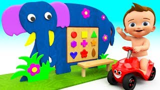 Learn Shapes & Colors for Children with Baby Elephant Wooden Toy Frame Shapes 3D Kids Educational