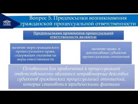 Гражданская процессуальная ответственность и меры процессуальной защиты