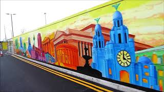 My huge colourful Liverpool Landmarks mural at Liverpool Shopping Park