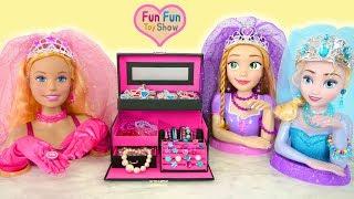 Princess Big Barbie : Jewelry box & Jewelry for Kids Boneka besar Grandes poupées Caixa de jóias