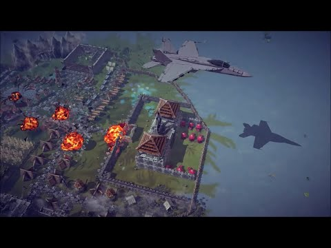 F/A-18 Super Hornet Doing Precision Airstrikes + Other Awesome Destruction   Besiege