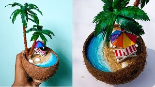 DIY Mini Beach In Coconut Shell | Waste Materials Craft