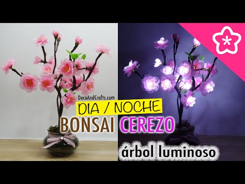 Arbol decorativo con Luces LED Bonsai de Cerezo - DecoAndCrafts