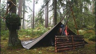 Overnight Wild Camp In the Rain - Bushcraft Canvas Poncho Shelter - Reindeer Stew