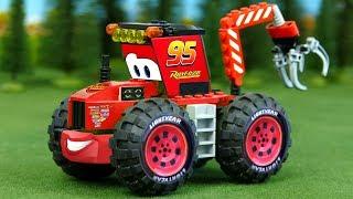 LEGO Lightning Mcqueen Cars for Kids . Bulldozer,  Concrete Mixer, Dump Truck, Mobile Crane Assembly