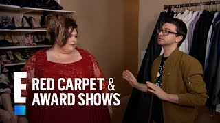 Inside Chrissy Metzs 2017 Golden Globes Dress Fitting  E Live From The Red Carpet
