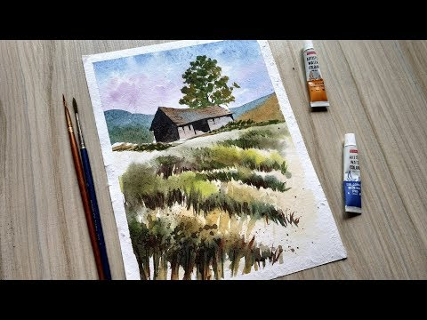 Easy Watercolor Painting | Simple House Painting