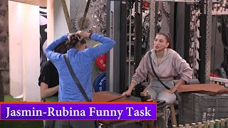 Bigg Boss 14 : Jasmin Bhasin And Rubina Dilaik Funny Task By Gauhar Khan