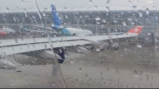 Pilotseye.tv - Swiss Airbus A340 - Rainy Departure from Shanghai [English Subtitles]