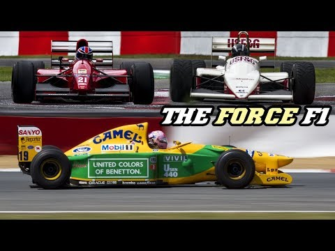 80's + 90's F1 cars V12, V8 and Turbo 4cyl. with Flames - The Force F1 demo Zolder 2018