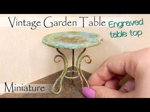 Miniature Vintage Garden Table Tutorial // DIY Dollhouse Furniture // SugarCharmShop