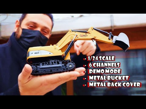 1/24 Micro RC Excavator with Metal Bucket and 6 Channels - Unboxing & Test