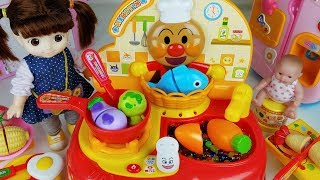 Baby doll and cooking food kitchen toys play - ToyMong TV 토이몽