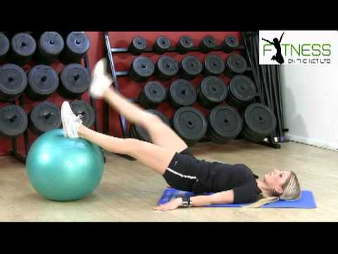 Beginners fitness/Hip raise and leg extension on stability ball