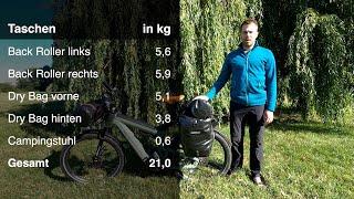 Ausrüstung E-Bike-Radreise, Bikepacking, Ortlieb Back Roller DryBag, Trangia