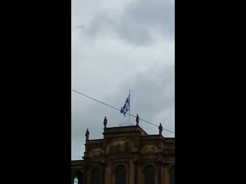 Flag on Maximilianeum, Munich, Free State of Bavaria