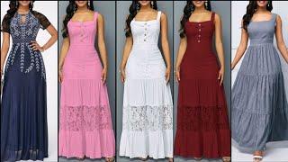 Simple Stylish And Beautiful Casual Flare Maxi Dress Design Ideas