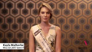 Introduction Video of Kayla Malherbe Miss South Africa 2017 Contestant from Mtunzini, Kwa Zulu Natal