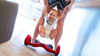 BABY HOVERBOARDING TRICKS!