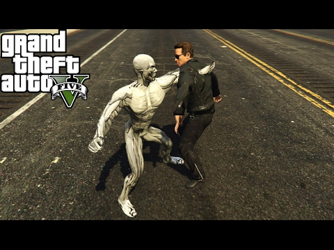 Terminator Genisys: Pops vs T-3000 Fight (GTA 5)