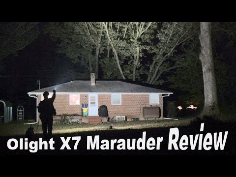 The 9000 lumen Olight X7 Marauder Flashlight Review.  One of the brightest, most powerful lights.