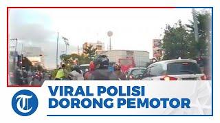 Viral Polisi Semarang Dorong Pemotor Boncengan hingga Terjatuh