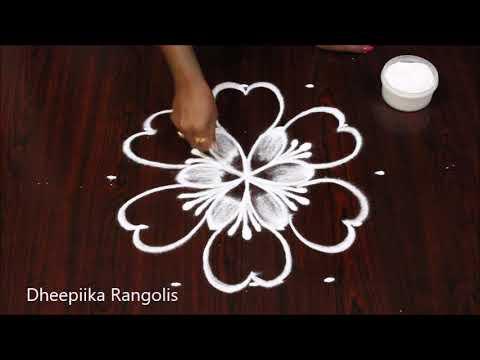 Latest Diwali Rangoli | 5 Dots Diwali Special Flower Rangoli | Diwali Kolam With Dots