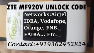 How to #Unlock #Faiba ZTE #MF920V MiFi Router +919362452824
