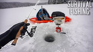 Eating ONLY What I Catch For 24 HOURS! (Survival Fishing) *Ice Fishing*