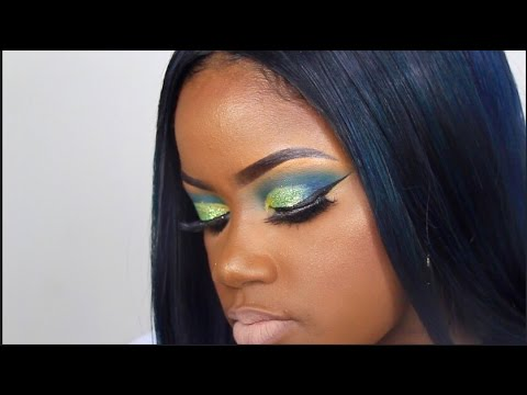 Spring Makeup Tutorial: Green and Blue Glitter   WOC