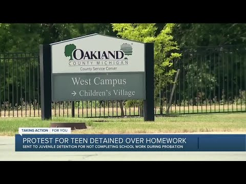 Protest for teen detained over homework