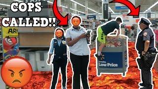 FLOOR IS LAVA CHALLENGE AT WALMART! *COPS CALLED* - Video Youtube
