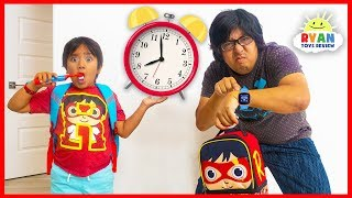 Ryan Pretend Play Late for School Morning Routine!!!!