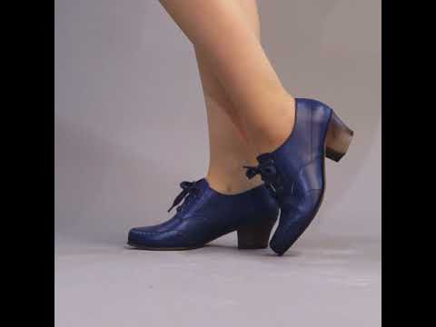 PRE-ORDER Claire 1940s Oxfords (Navy)(1920-1960)