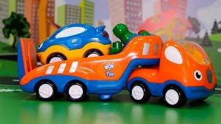 Машинки мультфильм - Эвакуатор спешит на помощь. Развивающие видео с игрушками для детей