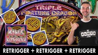 TRIPLE Fortune Dragon + TRIPLE Retrigger BONUS!  Seven Feathers #ad