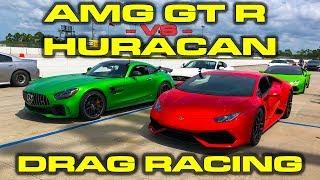 Lamborghini Huracan LP610-4 vs Mercedes-Benz AMG GT R 1/4 Mile Drag Racing and Roll Racing