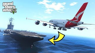 AIRBUS A380 EMERGENCY LANDING ON AIRCRAFT CARRIER!!! (GTA 5 Real Planes Mods)