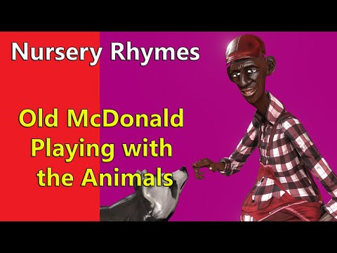 Black Old Macdonald with Domestic Animals in Nursery Rhyme